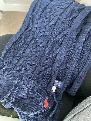 £10 • Buy Child Navy Cable Knit Ralph Lauren Scarf Accessories