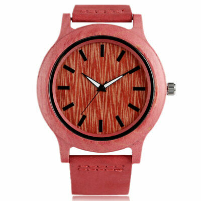 $ CDN17.86 • Buy Quartz Wood Watch Gift Red Round Case Classic Modern Fashion Style Antique Women