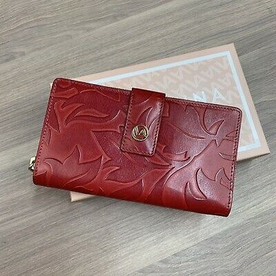 $ CDN48.53 • Buy Valentina Red Tooled Italian Leather Wallet New In Box