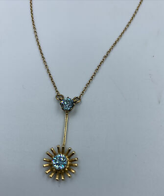£159 • Buy Edwardian Drop Pendant Necklace Blue Zircon Stones On 9ct Chain