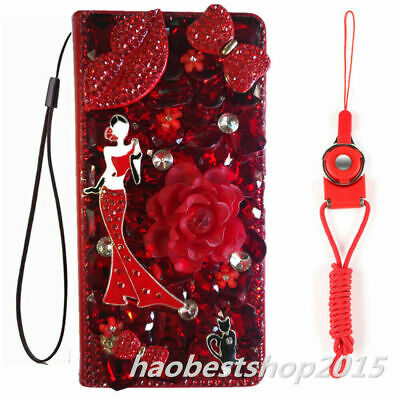 $ CDN19.39 • Buy For Samsung Galaxy Phone Case Flower Leather Flip Bling Wallet Cover & Lanyards