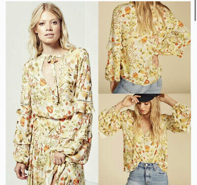 AU99 • Buy SPELL & THE GYPSY Sayulita Blouse In Sunflower, Size S Boho Designer Sleeve