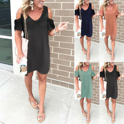 £6.99 • Buy Women Holiday Party Cold Shoulder Mini Dress Ladies Summer Casual Tunic Sundress