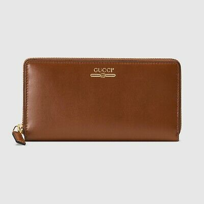 $ CDN383.38 • Buy Gucci Wallet Travel Brown Calf Leather Logo Made In Italy Genuine