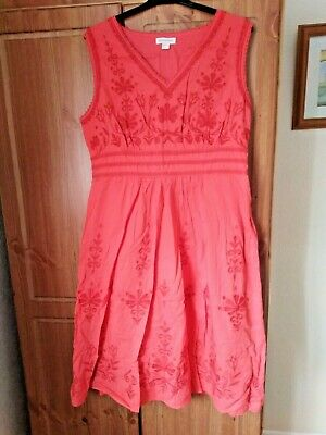 £3.70 • Buy Monsoon Size 18 Coral Embroidered Summer Dress