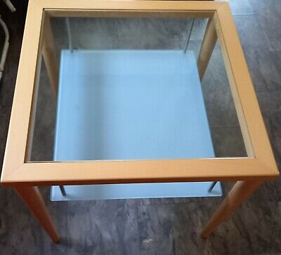 £40 • Buy Calligaris Light Wood Square Coffee Table With Glass Shelves Tempered Glass