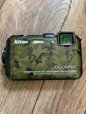 £50 • Buy Nikon COOLPIX AW100 16.0MP Digital Camera - Camouflage Waterproof And Shockproof
