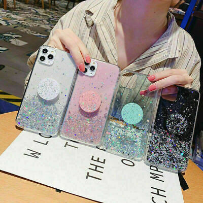 AU7.30 • Buy For IPhone 12 11 Pro Max X 6 7 8 Plus Glitter TPU Case With Socket Stand Holder