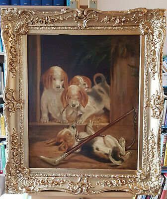 £245 • Buy 19th Century Hunting Scene, Beagle Puppies In A Kennel With A Riding Crop