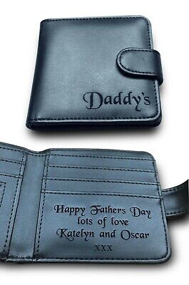 $ CDN22.13 • Buy Men's Personalised Engraved Black Soft Leather Wallet Fathers Day Gift Dad