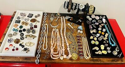 $ CDN29.12 • Buy Antique Vintage Jewelry Lot Unresearched Costume Estate Buy Varied Signed Brooch