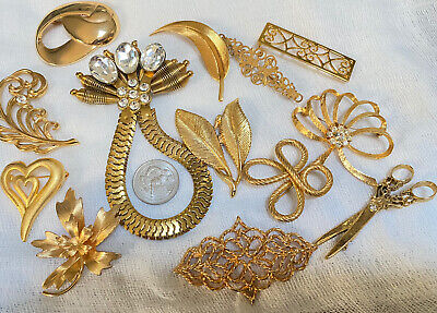 $ CDN12.12 • Buy Vintage Lot 13 Costume Abstract Gold Brooches Rhinestones