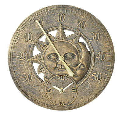 £19.95 • Buy 12  Sun And Moon Indoor Outdoor Garden Home Wall Clock With Thermometer Display