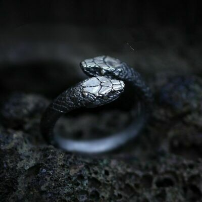 £6.35 • Buy Men Ring Gothic Reptile Jewelry Goth Double Snake Stainless Steel Accessories