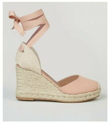 £15 • Buy New Look Pink Ribbon Ankle Tie Espadrille Wedges Size 6