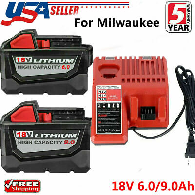 $66.55 • Buy For Milwaukee M18 XC 5.0/6.0AH Extended Lithium Battery 48-11-1890 /Fast Charger