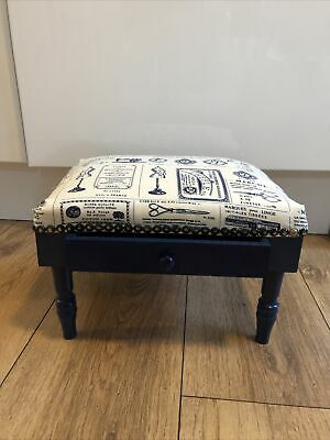 £19.99 • Buy Small Wooden Foot Stool With Drawer Navy Padded Top Sewing Crafts Storage Box Nw