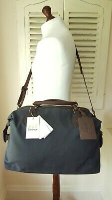 £235 • Buy BNWT Barbour Navy Waxed Leather Medium Travel Explorer Holdall (RRP £249)