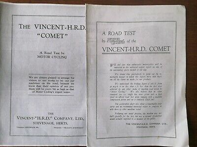 £8.95 • Buy Vincent HRD Comet Road Tests 1935 And 1938. Modern Copies From Motor Cycling Mag