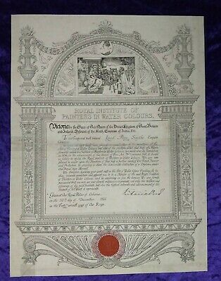£399.99 • Buy Scarce Royal Institute Of Painters Certificate - Signed By Queen Victoria