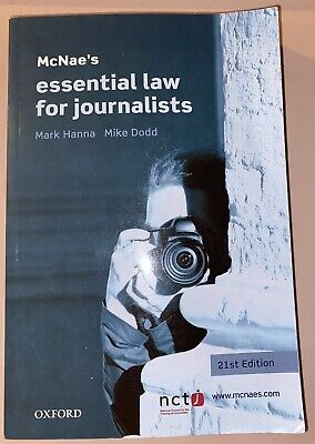 £0.69 • Buy Mcnaes Essential Law For Journalists Oxford 21st Edition