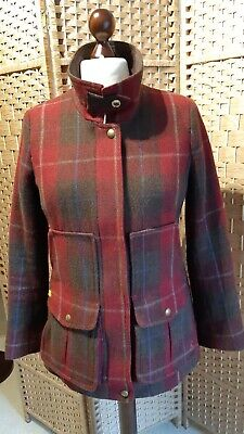 £120 • Buy Joules Tweed Fieldcoat Coat Size 14 Red Check Excellent (F85)