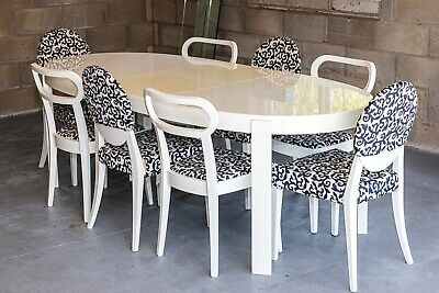 £350 • Buy Calligaris White Extendable Dining Table & Chairs (8) Modern Italian Designer