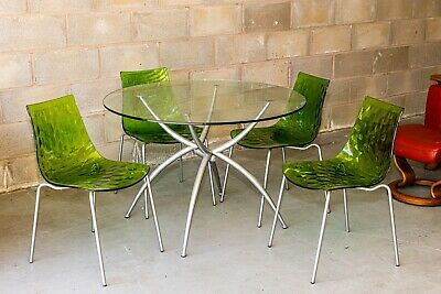 £100 • Buy Calligaris Glass Dining Table & Perspex Green Chairs (4)  Ice  Designer Modern