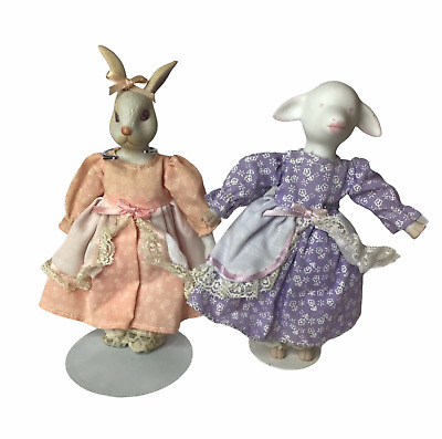 $ CDN30.25 • Buy Vintage Enesco Bisque Porcelain Rabbit & Lamb Dolls Pastel Cottage Soft Bodies