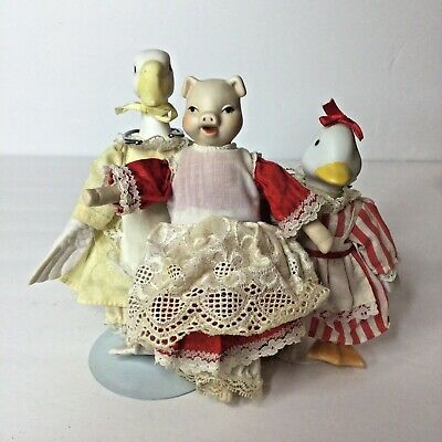 $ CDN30.25 • Buy  Vintage Lot Of 3 Bisque Porcelain Animal Dolls Ducks & Pig Soft Bodies Prairie
