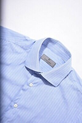 £5.86 • Buy Recent CANALI Blue White Silver Stripe Slim Cotton Dress Shirt Small 15 Italy