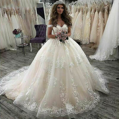 $ CDN0.01 • Buy Ball Gown Lace Appliques Wedding Dresses Off The Shoulder Champagne Bridal Dress