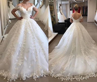 $ CDN0.01 • Buy Off The Shoulder Wedding Dresses Lace Appliques V Neck Long Train Ball Gowns