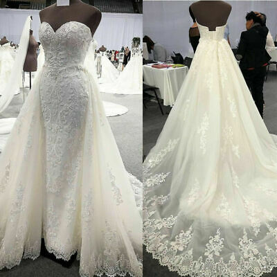 $ CDN0.01 • Buy Luxury Wedding Dresses Mermaid Sweetheart Tulle Lace With Detachable Skirt Gowns