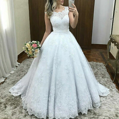 $ CDN12.09 • Buy Lace Wedding Dresses Cap Sleeve Scoop Neck Applique Train Wedding Bridal Gowns