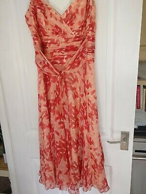 £15 • Buy Monsoon 100% Silk Dress, Day Or Evening, Coral, Peach, Pink Size 14