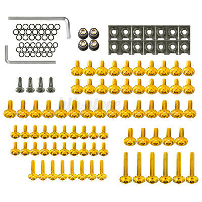 £12.11 • Buy 137pcs Gold Fairing Bolts Kit Fastener Clips Screws For Motorcycle Sportbike