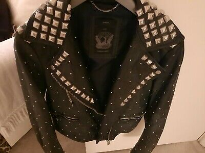 £169 • Buy DIESEL Black Gold Leather Biker Style Jacket With Studded Finish Size Small