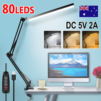 AU28.99 • Buy Table Desk LED Lamp With Clamp 3 Color Modes For Headboard Workbench Study Work