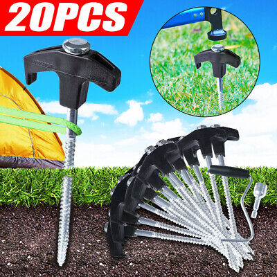AU26.99 • Buy 20PCS Tent Pegs Heavy Duty Screw Steel In Ground Camping Stakes Outdoor Nail AU