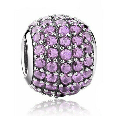 £5.95 • Buy Purple Pave Crystal Charm - 925 Silver - Mum Sister Daughter Nan I Love You Gift
