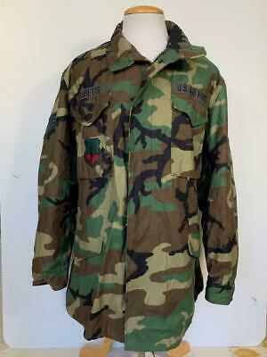 $47.77 • Buy Us Army Woodland Camo M-65 Field Jacket Size Large Long M-1965 Usaf Patches 1999