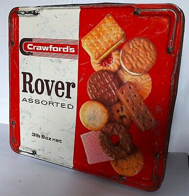 £19 • Buy EARLY CRAWFORD's BISCUIT TIN * ROVER BRAND 23 X 22 X 12 Cm For RENOVATION