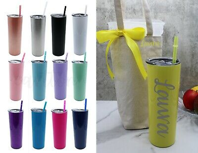 £17.80 • Buy Skinny Stainless Steel Custom Tumbler, Cup With Straw And Lid, Insulated Hot And