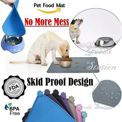 £5.77 • Buy Pet Food Mat Dog Cat Puppy Silicone Feeding Non Slip Waterproof Bowl Placemat