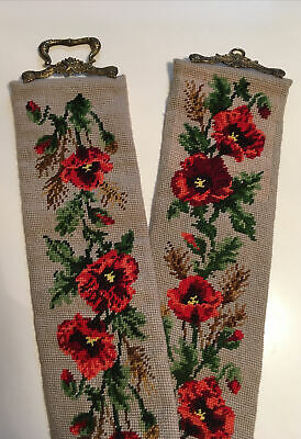 £27 • Buy VINTAGE TAPESTRY NEEDLEPOINT LONG BELL PULL / WALL HANGING POPPY DESIGN 133cm