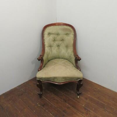 £295 • Buy Antique Early Victorian Walnut Button Back Upholstered Salon Chair 1860