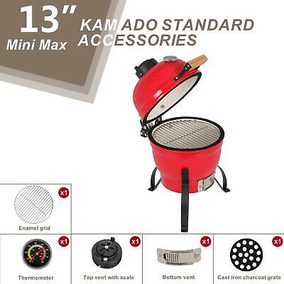 £119.95 • Buy 13  Charcoal Smoker Grill Ceramic Metal Outdoor BBQ Smoking W/Thermometer Red UK