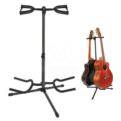 AU28.78 • Buy 2 Head Guitar Stand Foldable Double Self Locking Folding Acoustic Bass Electric