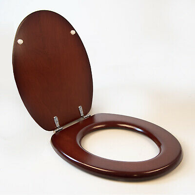 £19.99 • Buy Wooden Toilet Seat Wood Standard Size Walnut Chrome Hinges Fixings Included
